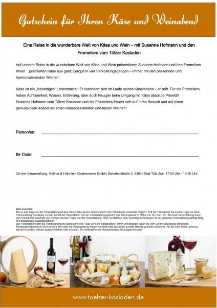 Gutschein für Ihren Käse und Weinabend in Bad Tölz