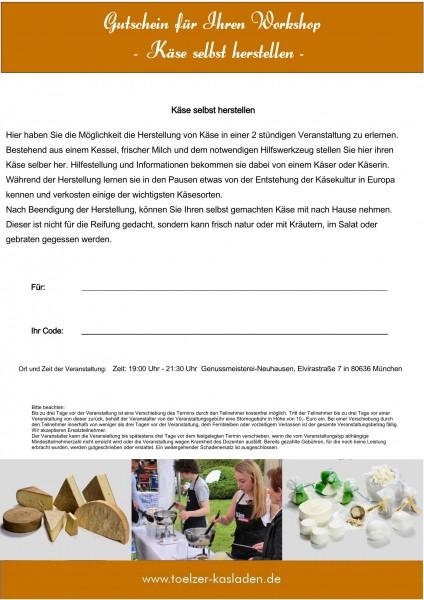 Gutschein für Ihren Workshop - Käse selbst herstellen-